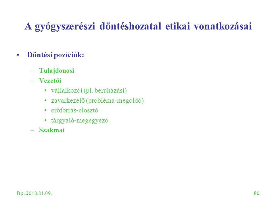 80 A gyógyszerészi döntéshozatal etikai vonatkozásai Döntési pozíciók: –Tulajdonosi –Vezetői vállalkozói (pl. beruházási) zavarkezelő (probléma-megold
