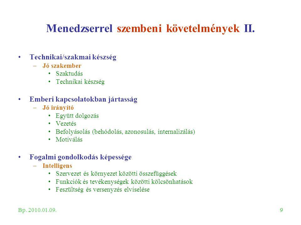 99 Menedzserrel szembeni követelmények II. Technikai/szakmai készség –Jó szakember Szaktudás Technikai készség Emberi kapcsolatokban jártasság –Jó irá