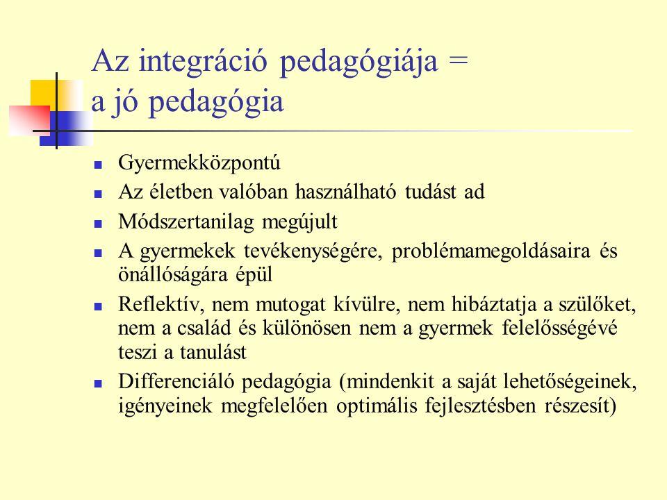 Az integráció pedagógiája = a jó pedagógia Gyermekközpontú Az életben valóban használható tudást ad Módszertanilag megújult A gyermekek tevékenységére