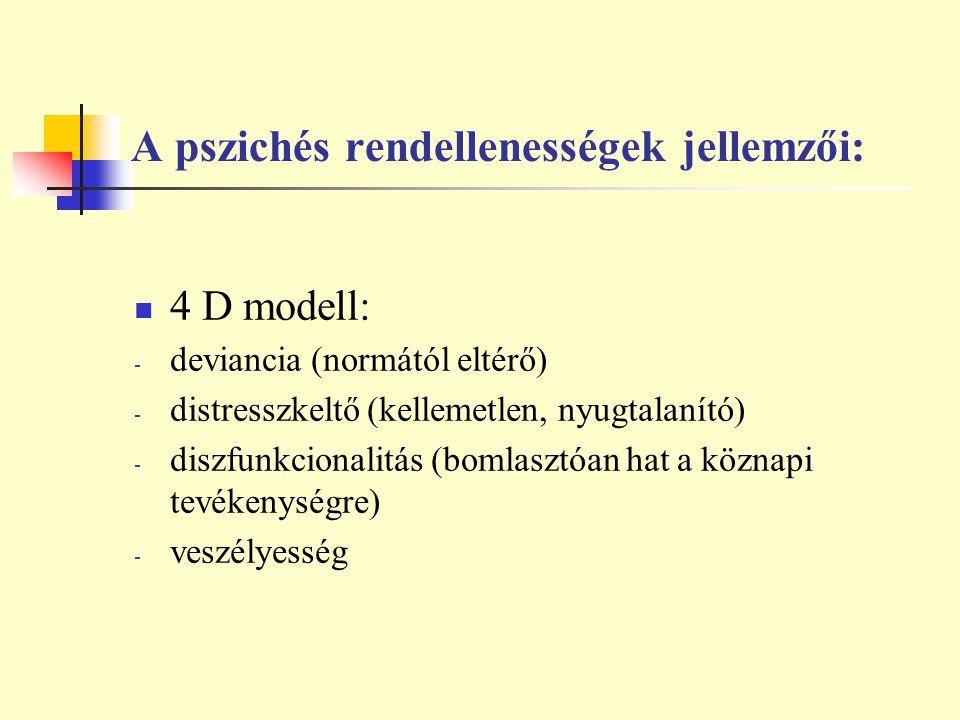 A pszichés rendellenességek jellemzői: 4 D modell: - deviancia (normától eltérő) - distresszkeltő (kellemetlen, nyugtalanító) - diszfunkcionalitás (bo