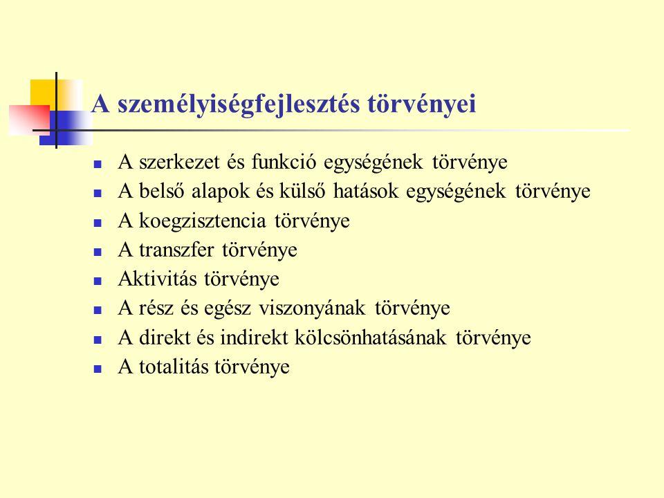 A személyiségfejlesztés törvényei A szerkezet és funkció egységének törvénye A belső alapok és külső hatások egységének törvénye A koegzisztencia törv