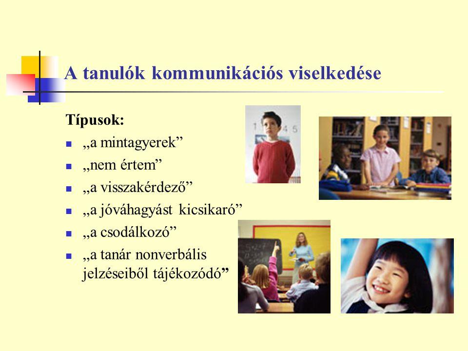 """A tanulók kommunikációs viselkedése Típusok: """"a mintagyerek"""" """"nem értem"""" """"a visszakérdező"""" """"a jóváhagyást kicsikaró"""" """"a csodálkozó"""" """"a tanár nonverbál"""