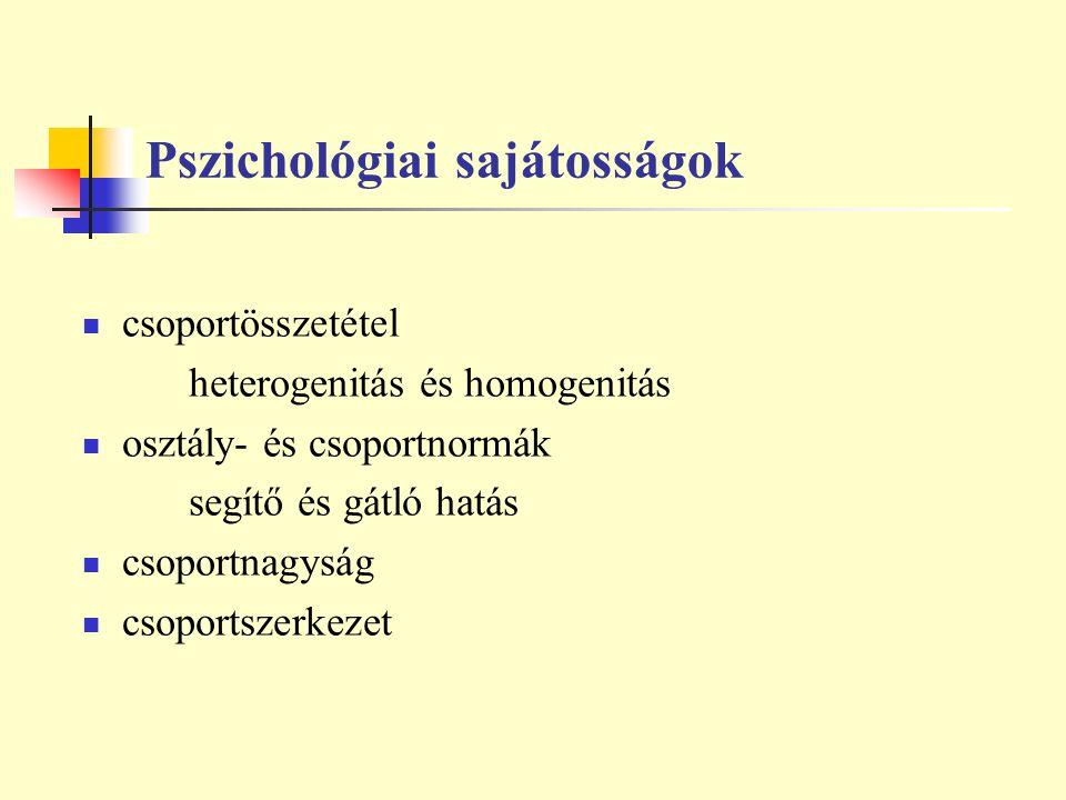Pszichológiai sajátosságok csoportösszetétel heterogenitás és homogenitás osztály- és csoportnormák segítő és gátló hatás csoportnagyság csoportszerke