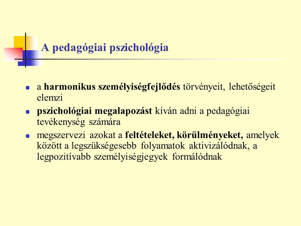 A pedagógiai pszichológia a harmonikus személyiségfejlődés törvényeit, lehetőségeit elemzi pszichológiai megalapozást kíván adni a pedagógiai tevékeny