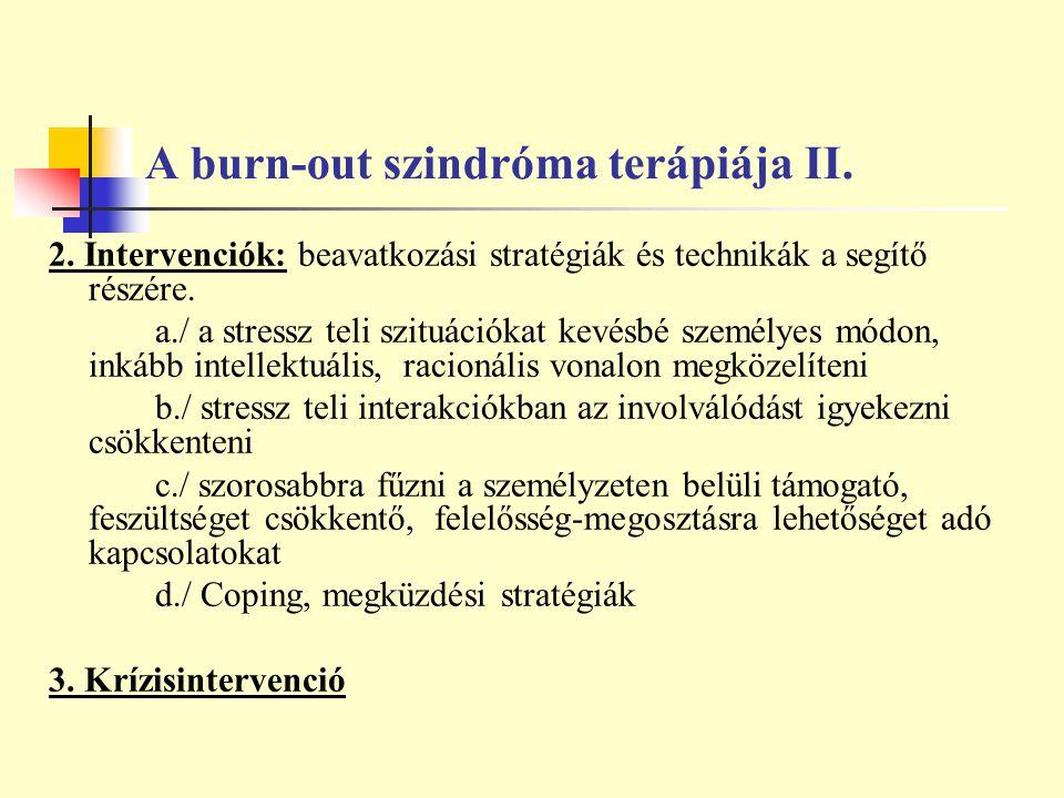 A burn-out szindróma terápiája II. 2. Intervenciók: beavatkozási stratégiák és technikák a segítő részére. a./ a stressz teli szituációkat kevésbé sze