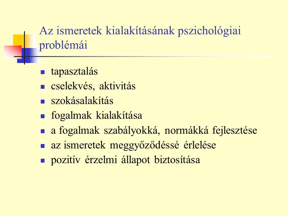 Az ismeretek kialakításának pszichológiai problémái tapasztalás cselekvés, aktivitás szokásalakítás fogalmak kialakítása a fogalmak szabályokká, normá
