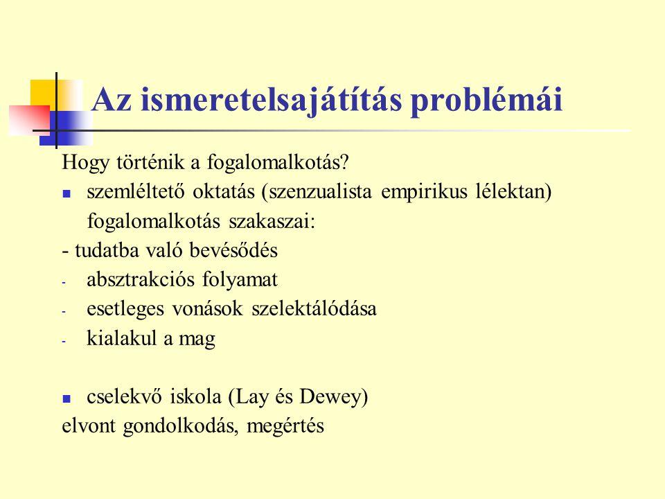 Az ismeretelsajátítás problémái Hogy történik a fogalomalkotás? szemléltető oktatás (szenzualista empirikus lélektan) fogalomalkotás szakaszai: - tuda