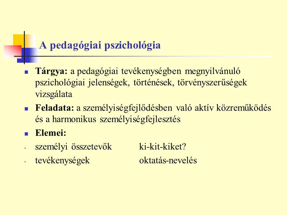A pedagógiai pszichológia Tárgya: a pedagógiai tevékenységben megnyilvánuló pszichológiai jelenségek, történések, törvényszerűségek vizsgálata Feladat