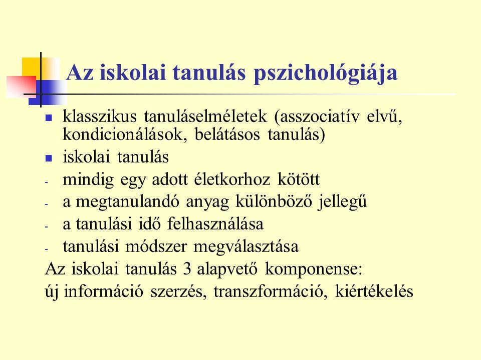 Az iskolai tanulás pszichológiája klasszikus tanuláselméletek (asszociatív elvű, kondicionálások, belátásos tanulás) iskolai tanulás - mindig egy adot