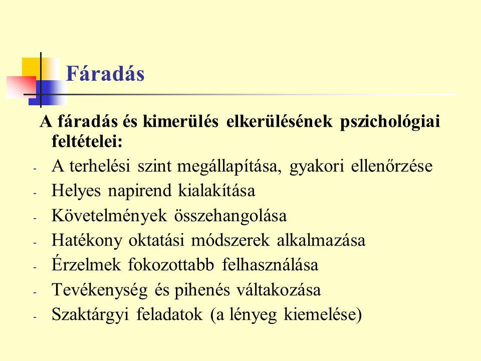 Fáradás A fáradás és kimerülés elkerülésének pszichológiai feltételei: - A terhelési szint megállapítása, gyakori ellenőrzése - Helyes napirend kialak