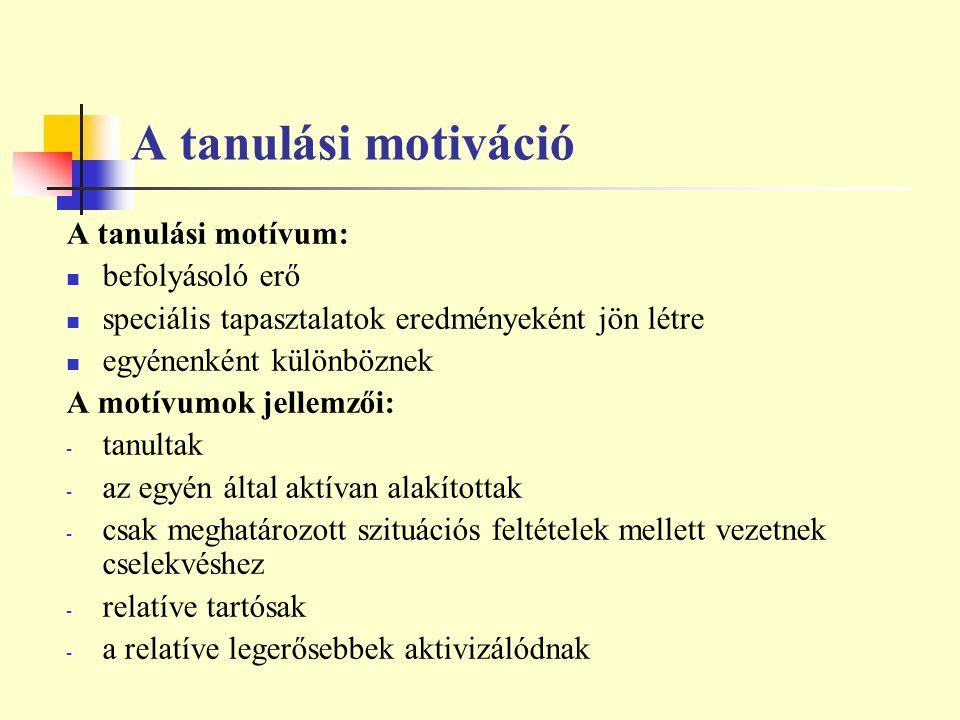 A tanulási motiváció A tanulási motívum: befolyásoló erő speciális tapasztalatok eredményeként jön létre egyénenként különböznek A motívumok jellemzői