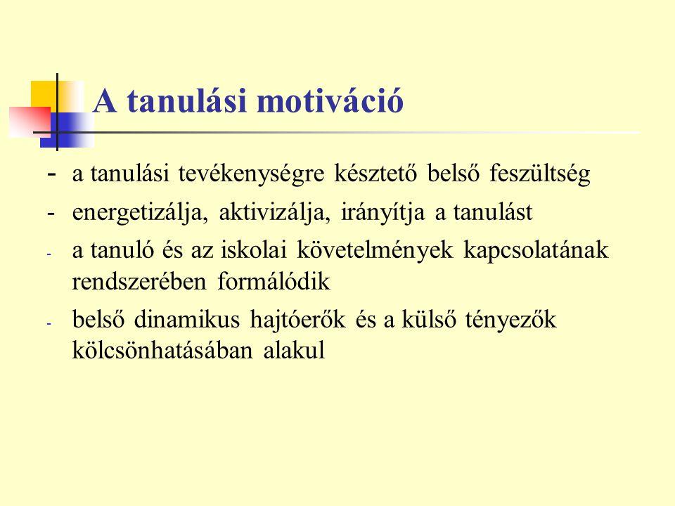 A tanulási motiváció - a tanulási tevékenységre késztető belső feszültség - energetizálja, aktivizálja, irányítja a tanulást - a tanuló és az iskolai