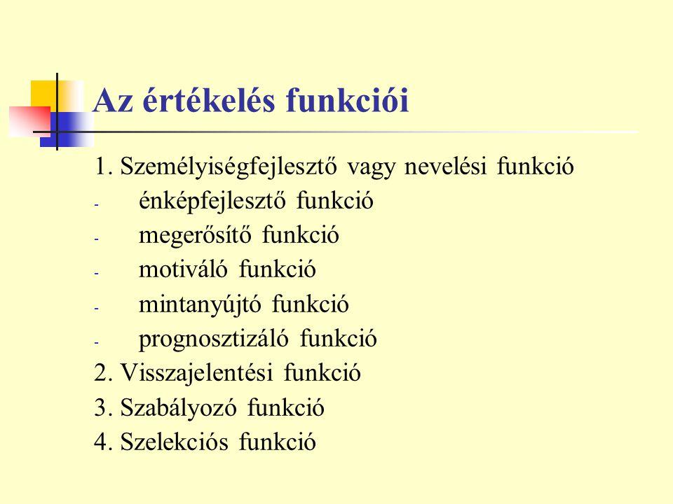 Az értékelés funkciói 1. Személyiségfejlesztő vagy nevelési funkció - énképfejlesztő funkció - megerősítő funkció - motiváló funkció - mintanyújtó fun