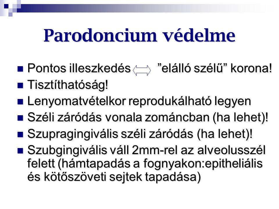 """Parodoncium védelme Pontos illeszkedés """"elálló szélű"""" korona! Pontos illeszkedés """"elálló szélű"""" korona! Tisztíthatóság! Tisztíthatóság! Lenyomatvételk"""