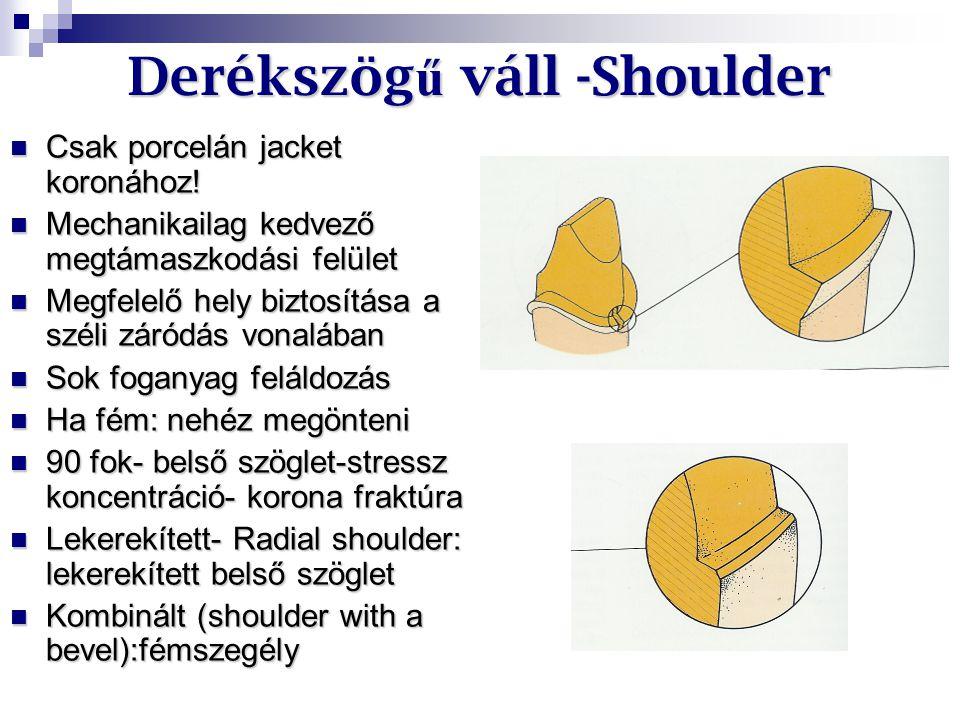 Derékszög ű váll -Shoulder Csak porcelán jacket koronához! Csak porcelán jacket koronához! Mechanikailag kedvező megtámaszkodási felület Mechanikailag