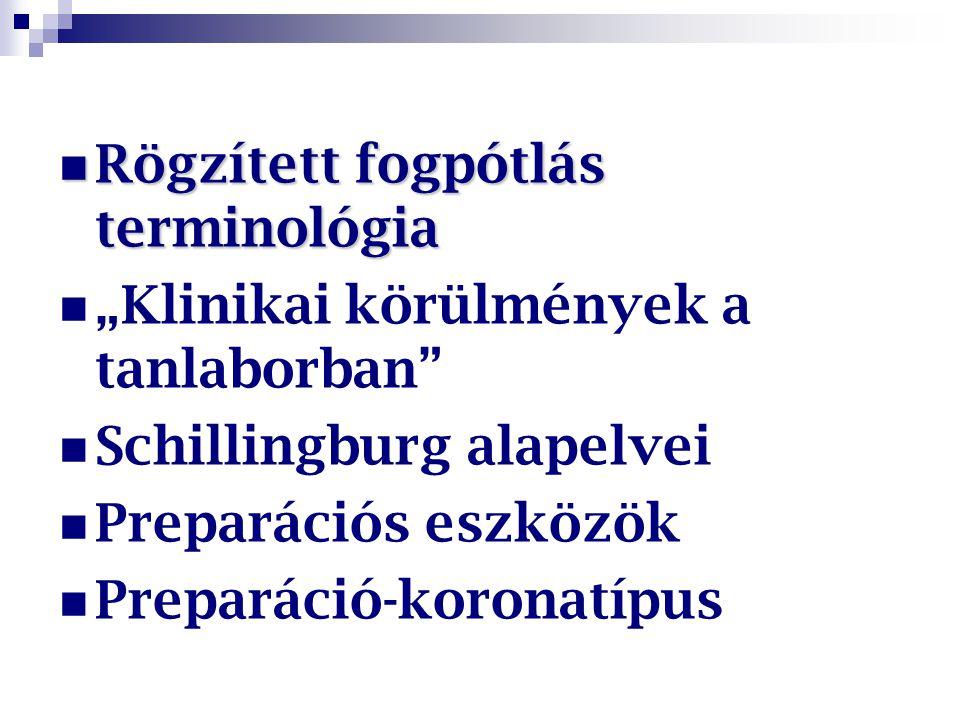 """Rögzített fogpótlás terminológia Rögzített fogpótlás terminológia """"Klinikai körülmények a tanlaborban"""" Schillingburg alapelvei Preparációs eszközök Pr"""