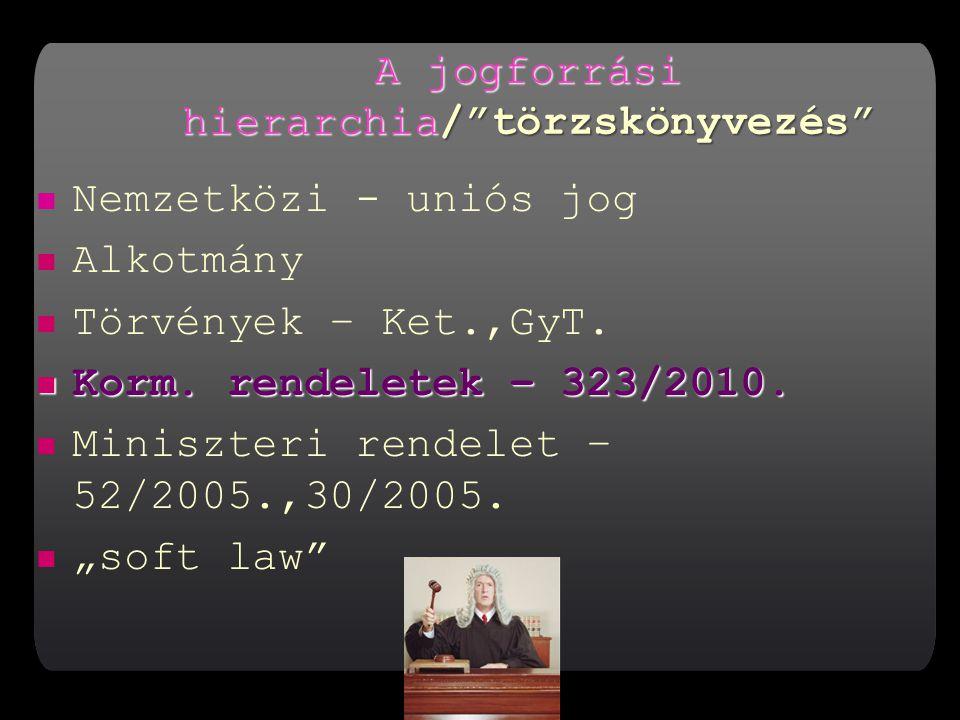 A jogforrási hierarchia/ törzskönyvezés Nemzetközi - uniós jog Alkotmány Törvények – Ket.,GyT.