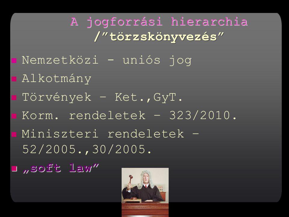 A jogforrási hierarchia / törzskönyvezés Nemzetközi - uniós jog Alkotmány Törvények – Ket.,GyT.