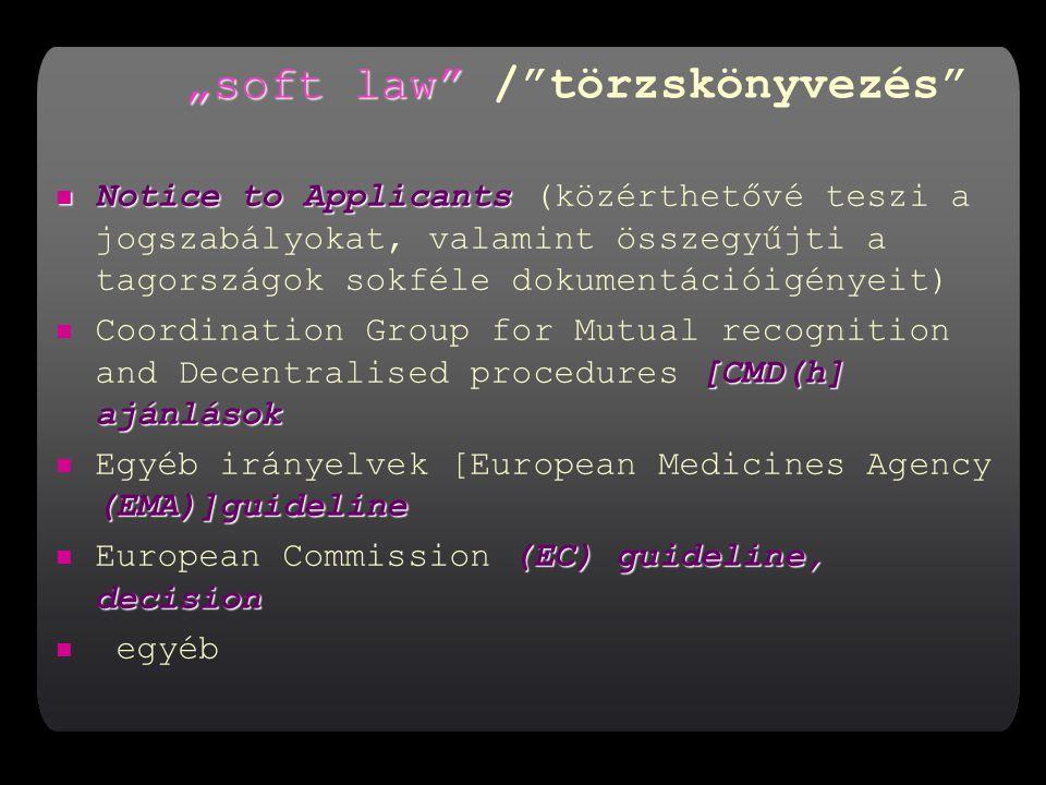 """""""soft law """"soft law / törzskönyvezés Notice to Applicants Notice to Applicants (közérthetővé teszi a jogszabályokat, valamint összegyűjti a tagországok sokféle dokumentációigényeit) [CMD(h] ajánlások Coordination Group for Mutual recognition and Decentralised procedures [CMD(h] ajánlások (EMA)]guideline Egyéb irányelvek [European Medicines Agency (EMA)]guideline (EC) guideline, decision European Commission (EC) guideline, decision egyéb"""