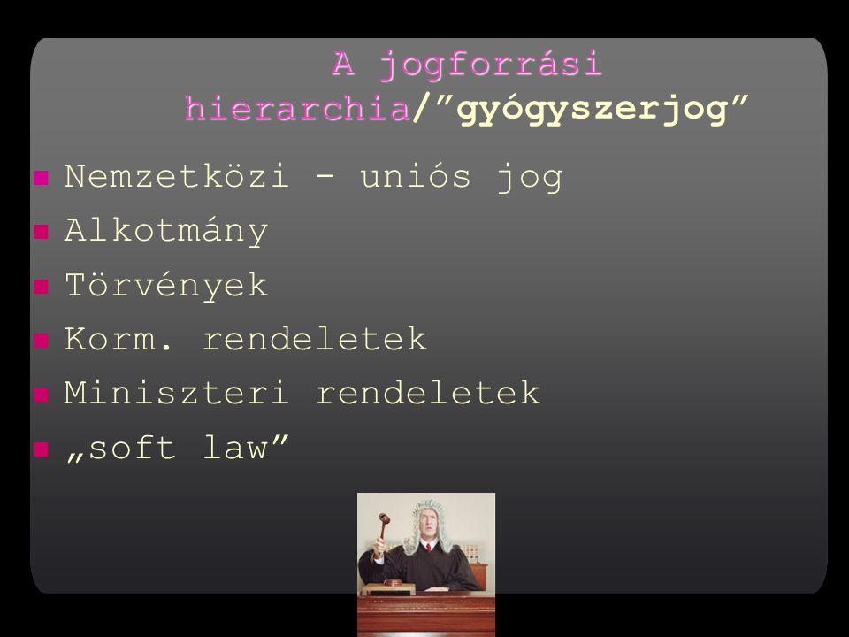 A jogforrási hierarchia A jogforrási hierarchia/ gyógyszerjog Nemzetközi - uniós jog Alkotmány Törvények Korm.