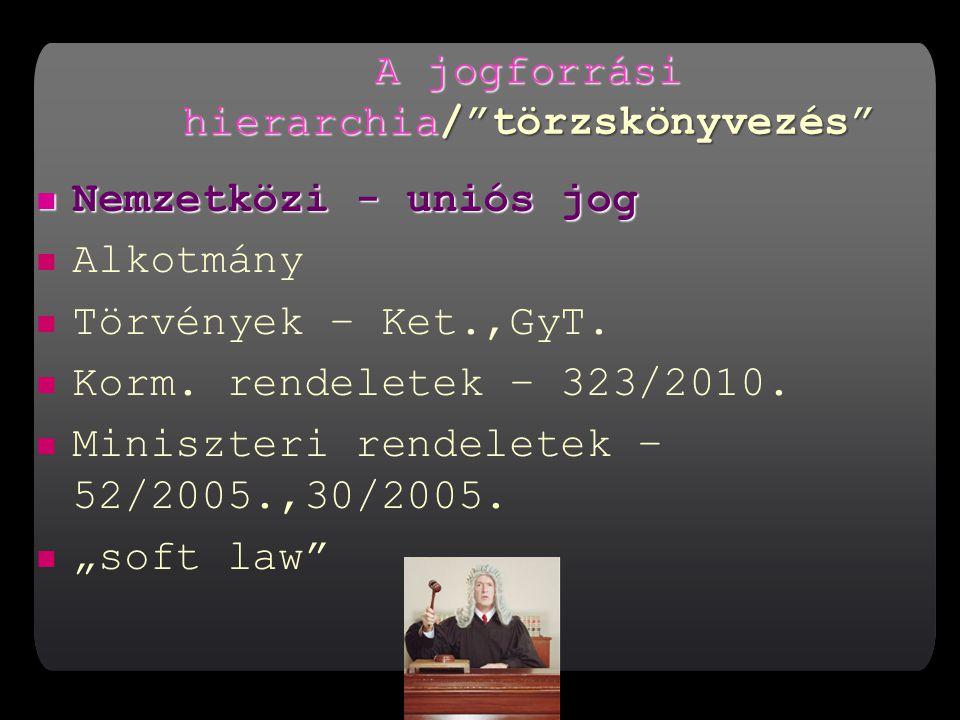 A jogforrási hierarchia/ törzskönyvezés Nemzetközi - uniós jog Nemzetközi - uniós jog Alkotmány Törvények – Ket.,GyT.