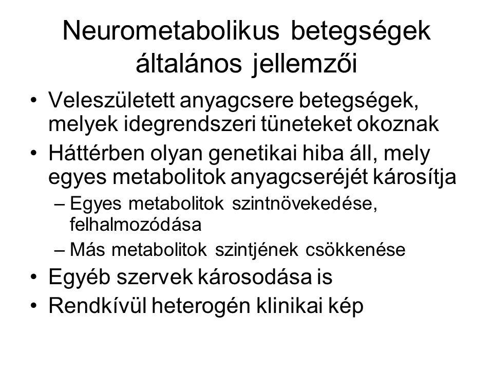 Neurometabolikus betegségek általános jellemzői Veleszületett anyagcsere betegségek, melyek idegrendszeri tüneteket okoznak Háttérben olyan genetikai
