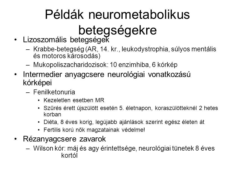 Példák neurometabolikus betegségekre Lizoszomális betegségek –Krabbe-betegség (AR, 14. kr., leukodystrophia, súlyos mentális és motoros károsodás) –Mu