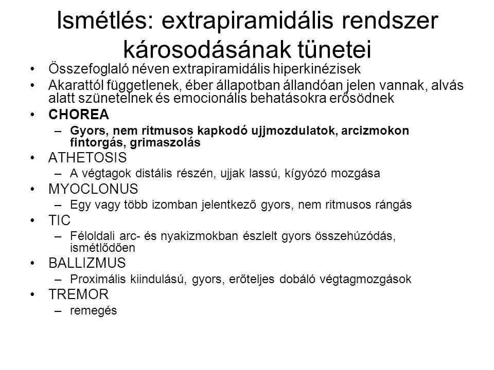Ismétlés: extrapiramidális rendszer károsodásának tünetei Összefoglaló néven extrapiramidális hiperkinézisek Akarattól függetlenek, éber állapotban ál
