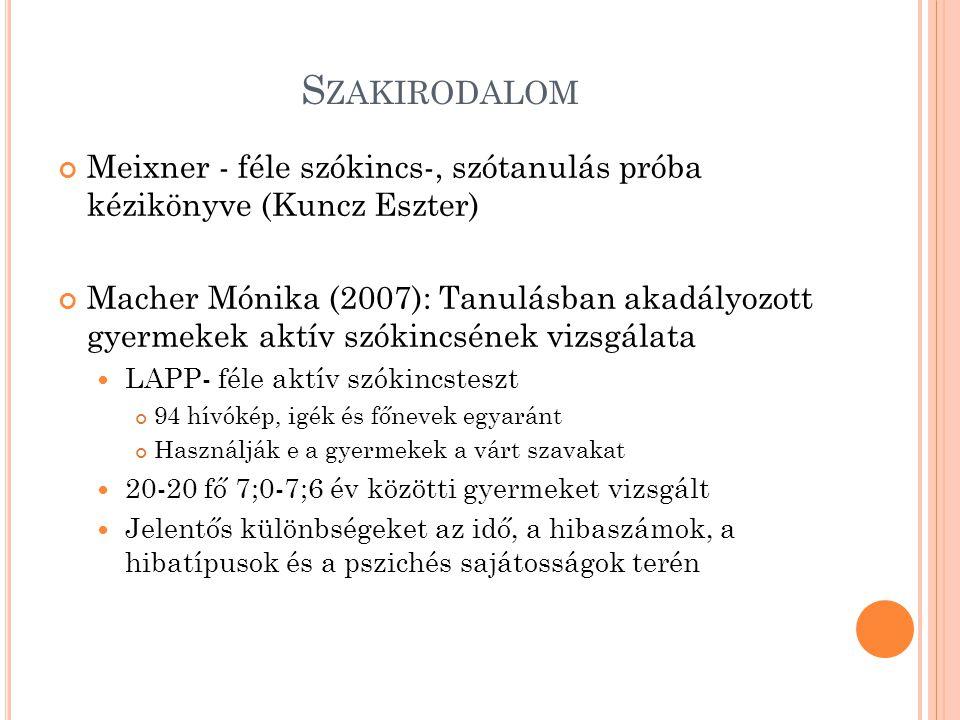S ZAKIRODALOM Meixner - féle szókincs-, szótanulás próba kézikönyve (Kuncz Eszter) Macher Mónika (2007): Tanulásban akadályozott gyermekek aktív szókincsének vizsgálata LAPP- féle aktív szókincsteszt 94 hívókép, igék és főnevek egyaránt Használják e a gyermekek a várt szavakat 20-20 fő 7;0-7;6 év közötti gyermeket vizsgált Jelentős különbségeket az idő, a hibaszámok, a hibatípusok és a pszichés sajátosságok terén