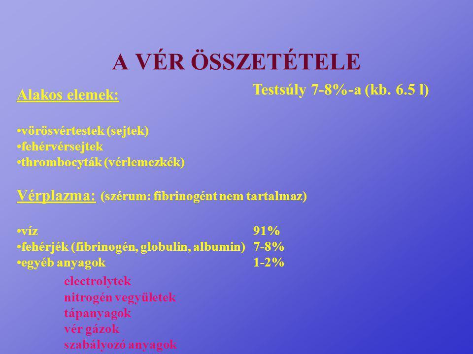 A VÉR ÖSSZETÉTELE Alakos elemek: vörösvértestek (sejtek) fehérvérsejtek thrombocyták (vérlemezkék) Vérplazma: (szérum: fibrinogént nem tartalmaz) víz91% fehérjék (fibrinogén, globulin, albumin)7-8% egyéb anyagok1-2% electrolytek nitrogén vegyületek tápanyagok vér gázok szabályozó anyagok Testsúly 7-8%-a (kb.