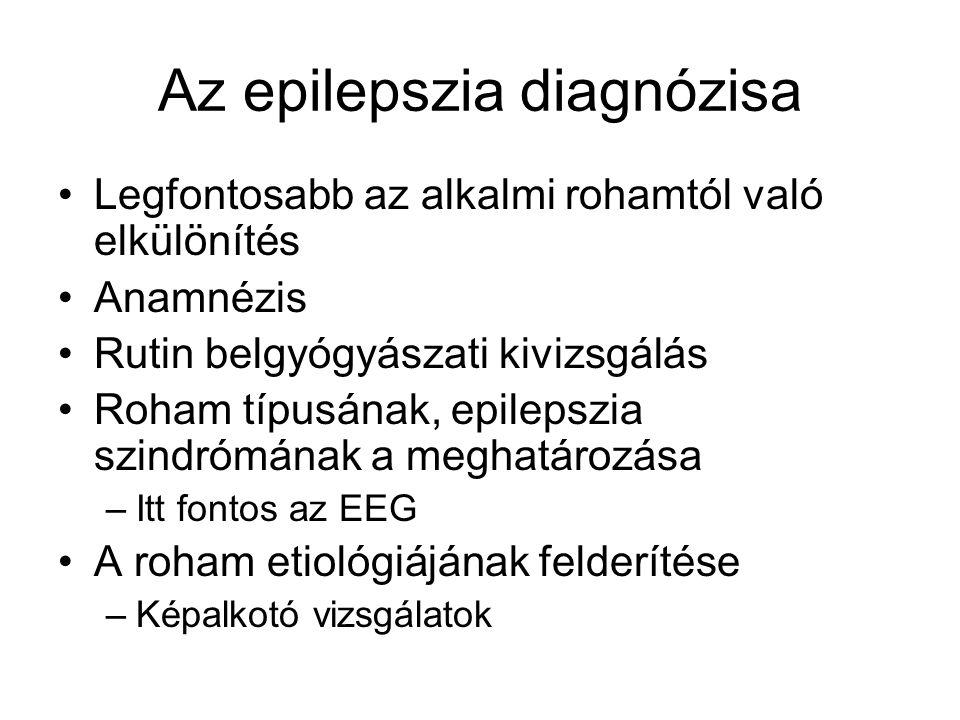 Az epilepszia diagnózisa Legfontosabb az alkalmi rohamtól való elkülönítés Anamnézis Rutin belgyógyászati kivizsgálás Roham típusának, epilepszia szin