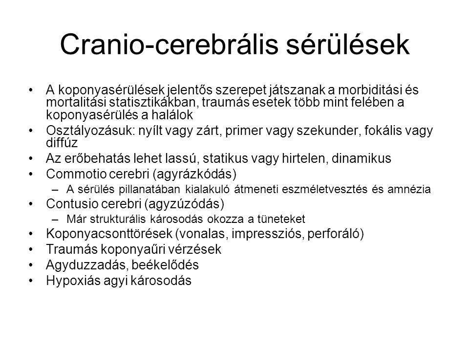 Cranio-cerebrális sérülések A koponyasérülések jelentős szerepet játszanak a morbiditási és mortalitási statisztikákban, traumás esetek több mint felében a koponyasérülés a halálok Osztályozásuk: nyílt vagy zárt, primer vagy szekunder, fokális vagy diffúz Az erőbehatás lehet lassú, statikus vagy hirtelen, dinamikus Commotio cerebri (agyrázkódás) –A sérülés pillanatában kialakuló átmeneti eszméletvesztés és amnézia Contusio cerebri (agyzúzódás) –Már strukturális károsodás okozza a tüneteket Koponyacsonttörések (vonalas, impressziós, perforáló) Traumás koponyaűri vérzések Agyduzzadás, beékelődés Hypoxiás agyi károsodás