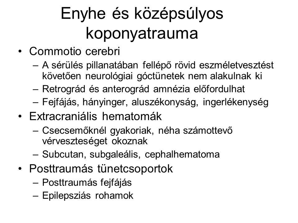 Enyhe és középsúlyos koponyatrauma Commotio cerebri –A sérülés pillanatában fellépő rövid eszméletvesztést követően neurológiai góctünetek nem alakulnak ki –Retrográd és anterográd amnézia előfordulhat –Fejfájás, hányinger, aluszékonyság, ingerlékenység Extracraniális hematomák –Csecsemőknél gyakoriak, néha számottevő vérveszteséget okoznak –Subcutan, subgaleális, cephalhematoma Posttraumás tünetcsoportok –Posttraumás fejfájás –Epilepsziás rohamok