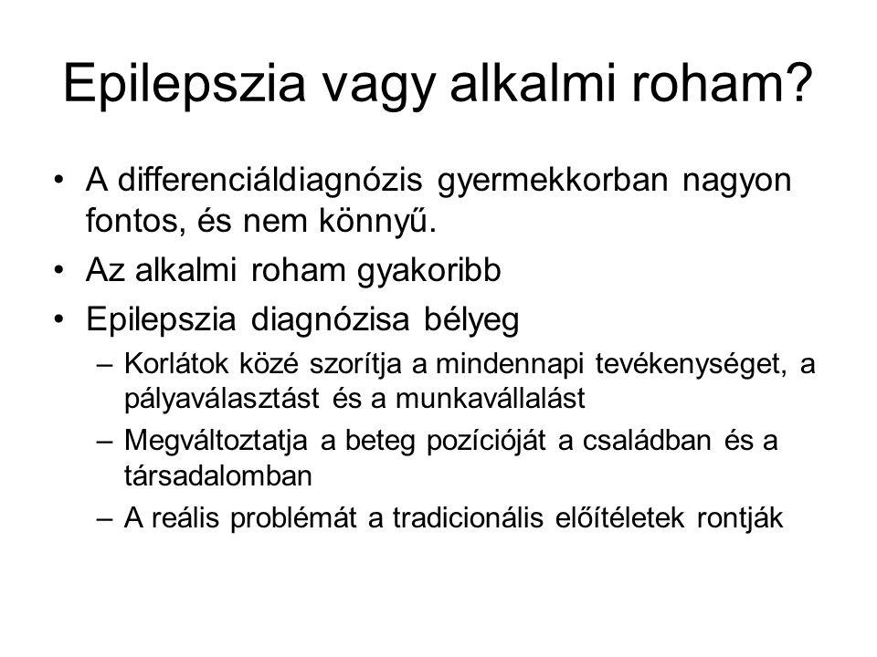 Az epilepszia diagnózisa Legfontosabb az alkalmi rohamtól való elkülönítés Anamnézis Rutin belgyógyászati kivizsgálás Roham típusának, epilepszia szindrómának a meghatározása –Itt fontos az EEG A roham etiológiájának felderítése –Képalkotó vizsgálatok
