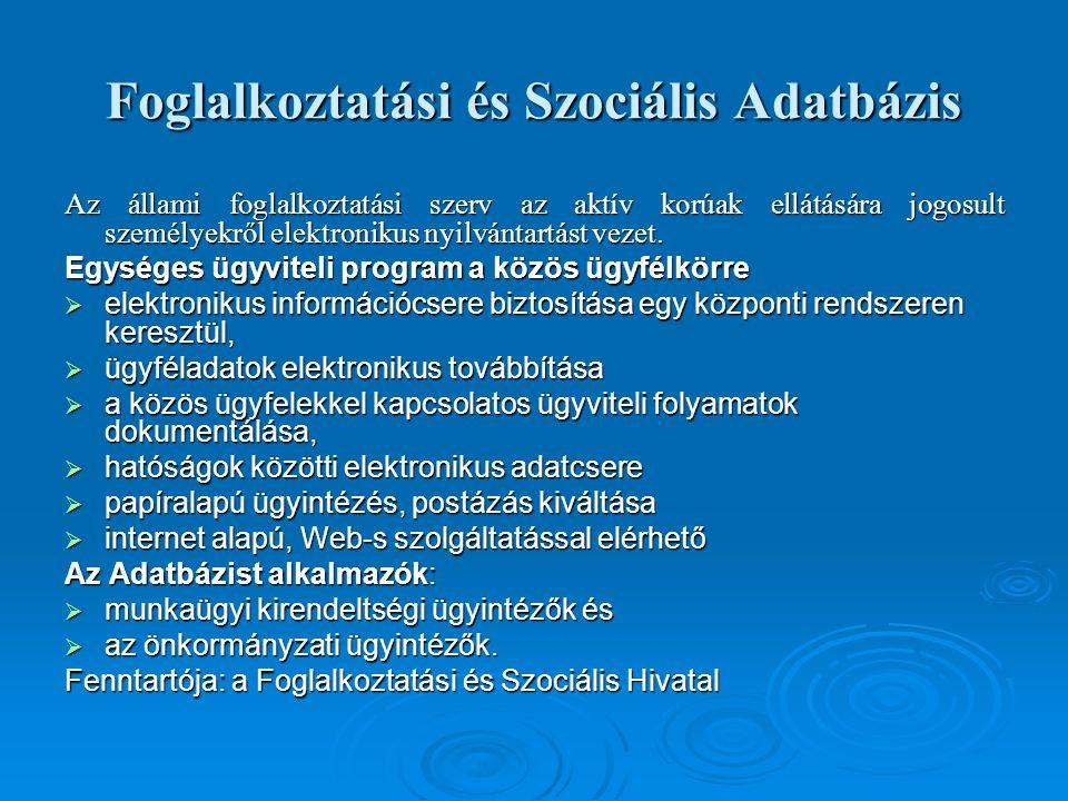 Foglalkoztatási és Szociális Adatbázis Az állami foglalkoztatási szerv az aktív korúak ellátására jogosult személyekről elektronikus nyilvántartást ve