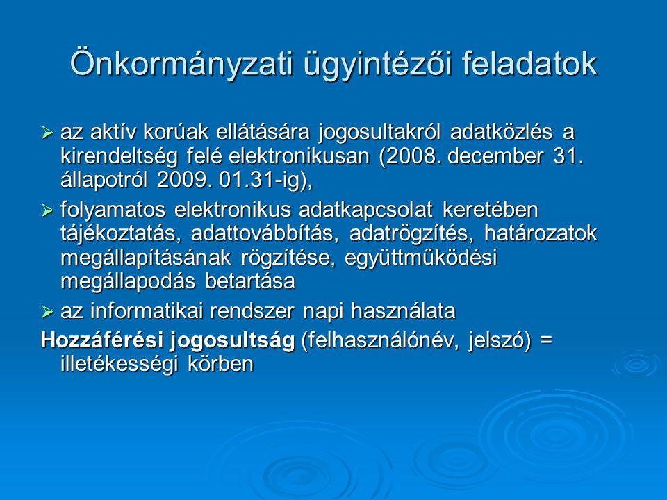 Önkormányzati ügyintézői feladatok  az aktív korúak ellátására jogosultakról adatközlés a kirendeltség felé elektronikusan (2008. december 31. állapo