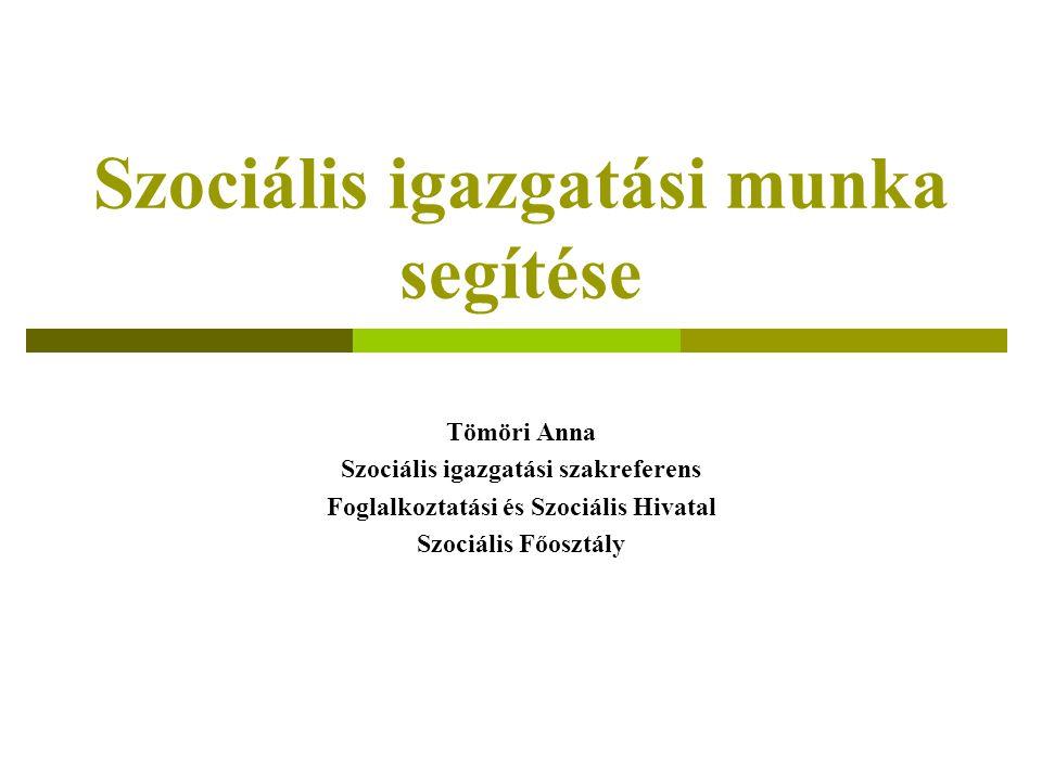 Szociális igazgatási munka segítése Tömöri Anna Szociális igazgatási szakreferens Foglalkoztatási és Szociális Hivatal Szociális Főosztály