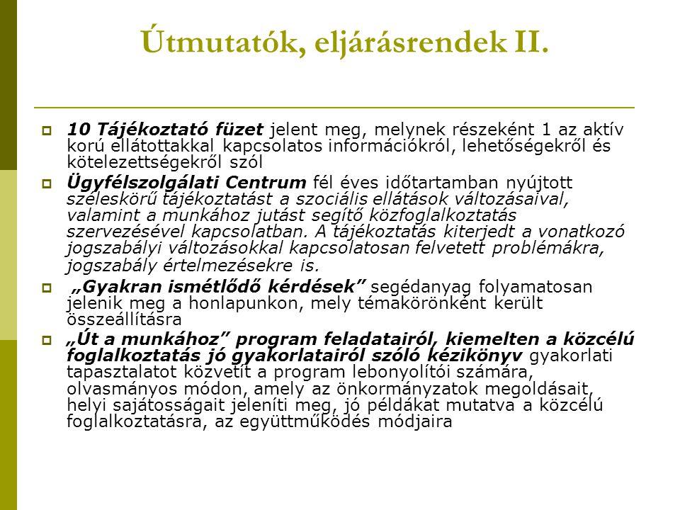 Útmutatók, eljárásrendek II.