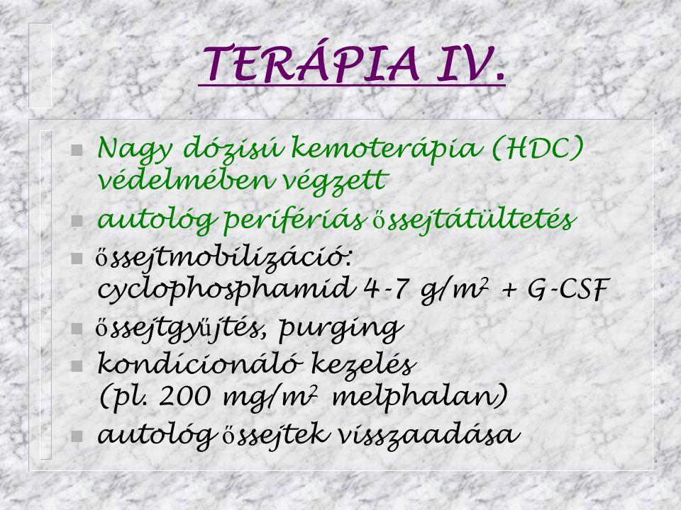 TERÁPIA IV. n Nagy dózisú kemoterápia (HDC) védelmében végzett n autológ perifériás ő ssejtátültetés n ő ssejtmobilizáció: cyclophosphamid 4-7 g/m 2 +
