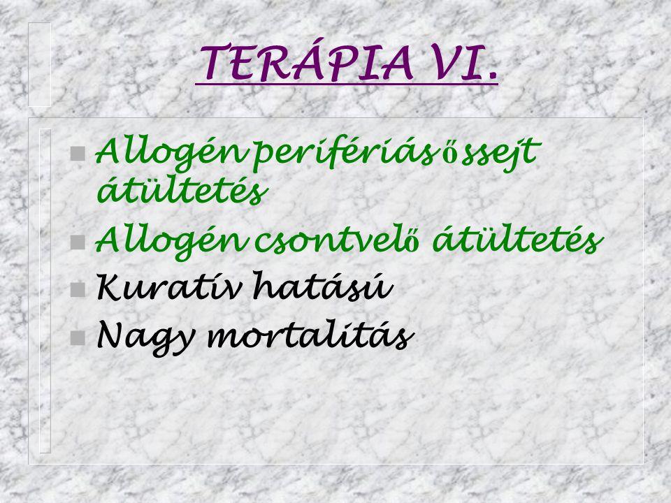 TERÁPIA VI. n Allogén perifériás ő ssejt átültetés n Allogén csontvel ő átültetés n Kuratív hatású n Nagy mortalitás