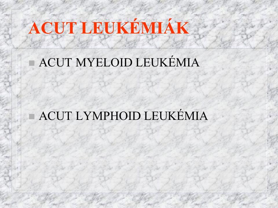ACUT LEUKÉMIÁK n ACUT MYELOID LEUKÉMIA n ACUT LYMPHOID LEUKÉMIA