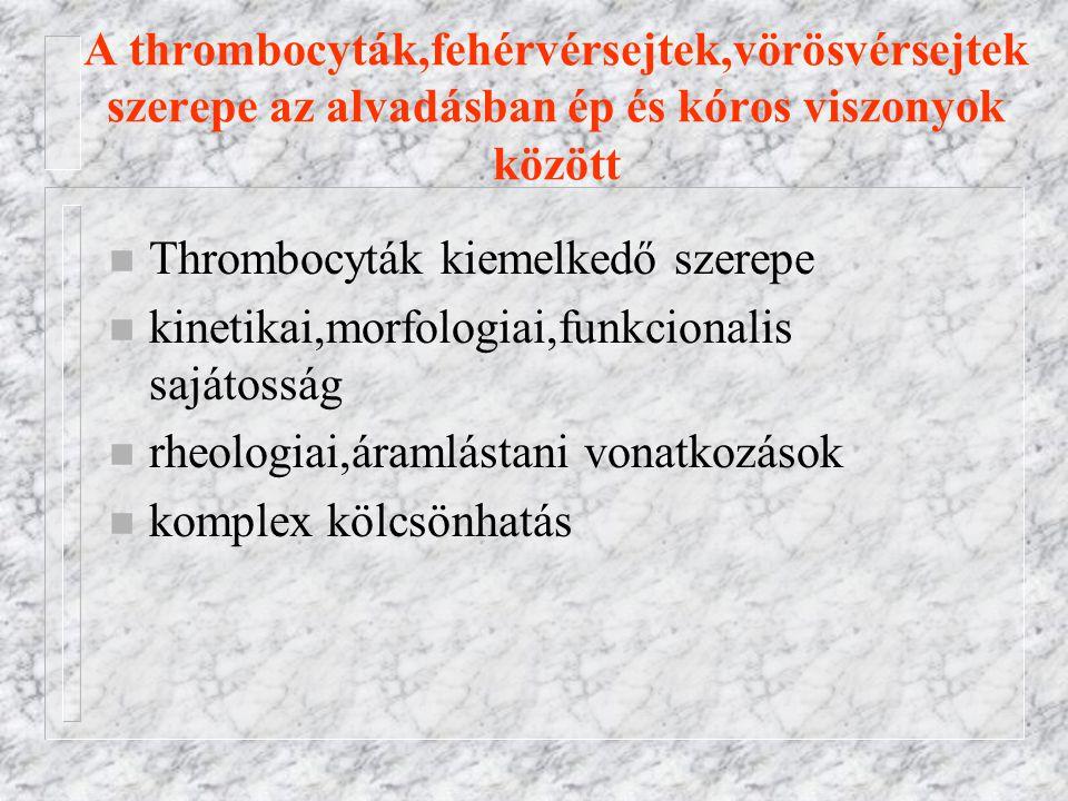 A thrombocyták,fehérvérsejtek,vörösvérsejtek szerepe az alvadásban ép és kóros viszonyok között n Thrombocyták kiemelkedő szerepe n kinetikai,morfologiai,funkcionalis sajátosság n rheologiai,áramlástani vonatkozások n komplex kölcsönhatás