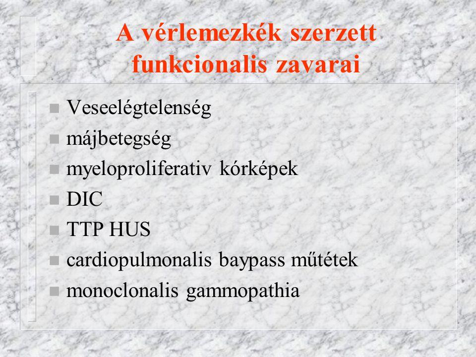 A vérlemezkék szerzett funkcionalis zavarai n Veseelégtelenség n májbetegség n myeloproliferativ kórképek n DIC n TTP HUS n cardiopulmonalis baypass műtétek n monoclonalis gammopathia