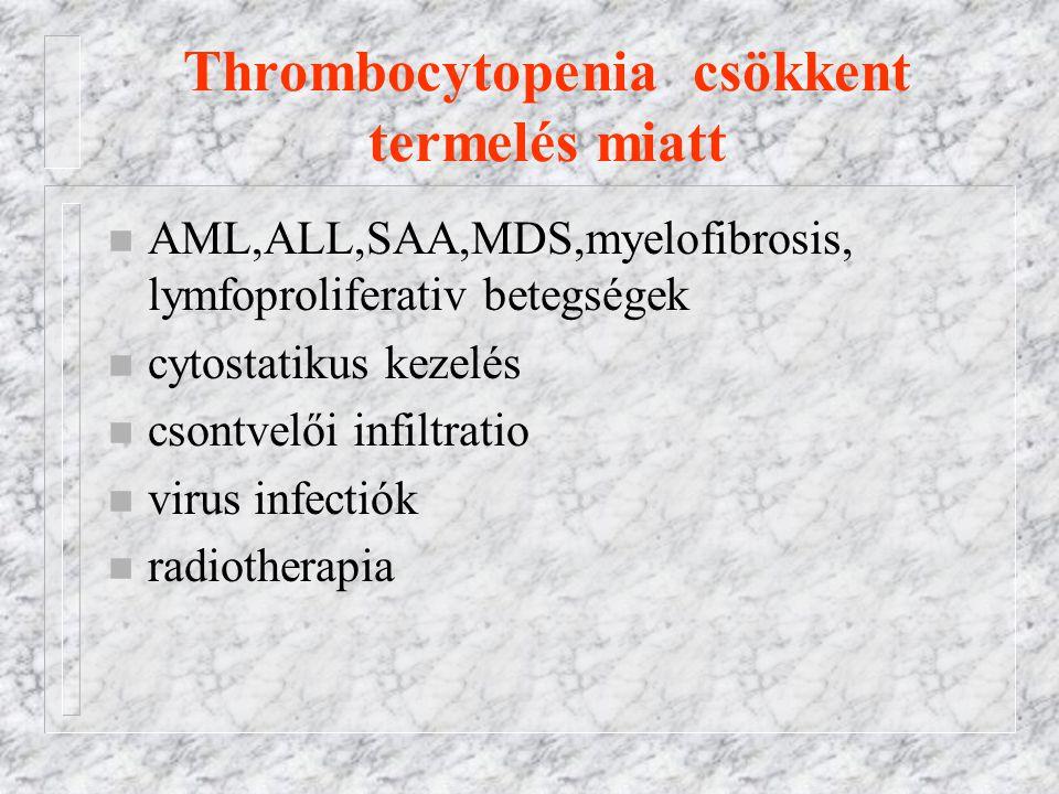 Thrombocytopenia csökkent termelés miatt n AML,ALL,SAA,MDS,myelofibrosis, lymfoproliferativ betegségek n cytostatikus kezelés n csontvelői infiltratio n virus infectiók n radiotherapia