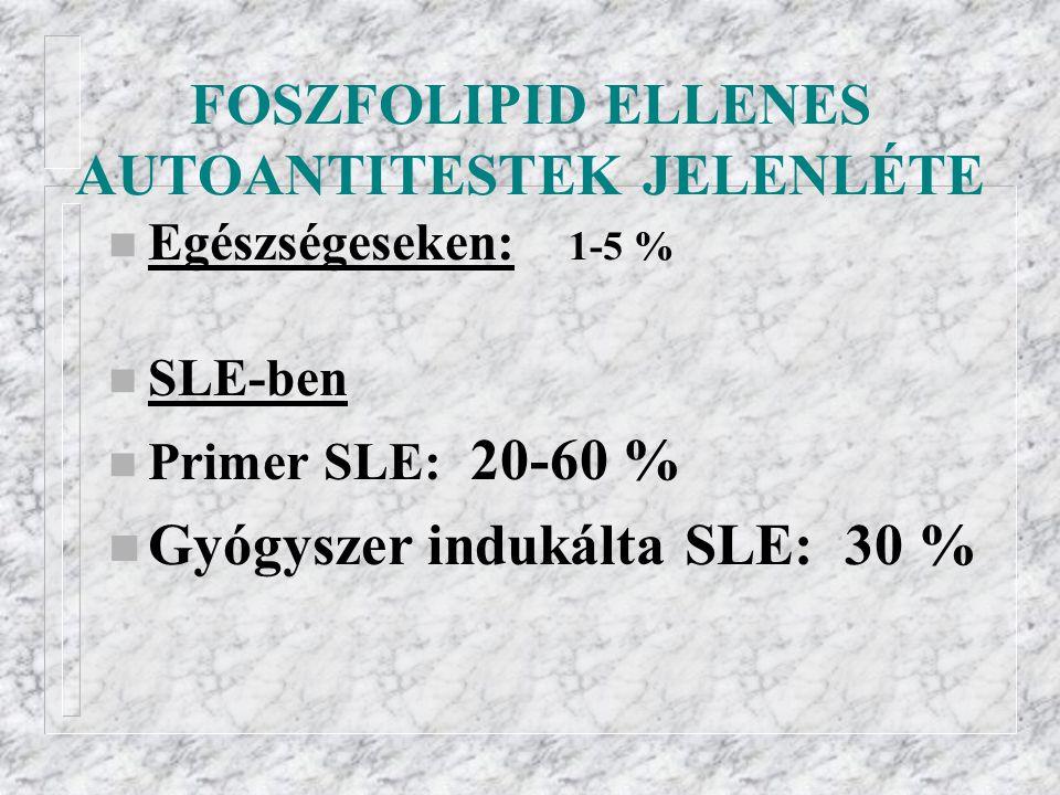 FOSZFOLIPID ELLENES AUTOANTITESTEK JELENLÉTE n Egészségeseken: 1-5 % n SLE-ben n Primer SLE: 20-60 % n Gyógyszer indukálta SLE: 30 %