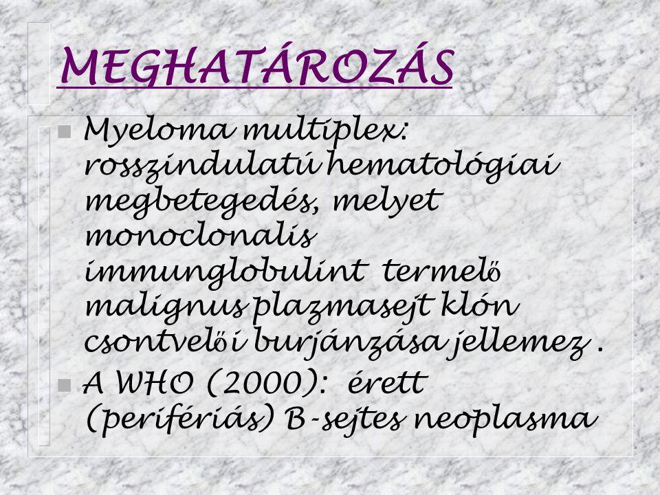 MEGHATÁROZÁS n Myeloma multiplex: rosszindulatú hematológiai megbetegedés, melyet monoclonalis immunglobulint termel ő malignus plazmasejt klón csontvel ő i burjánzása jellemez.