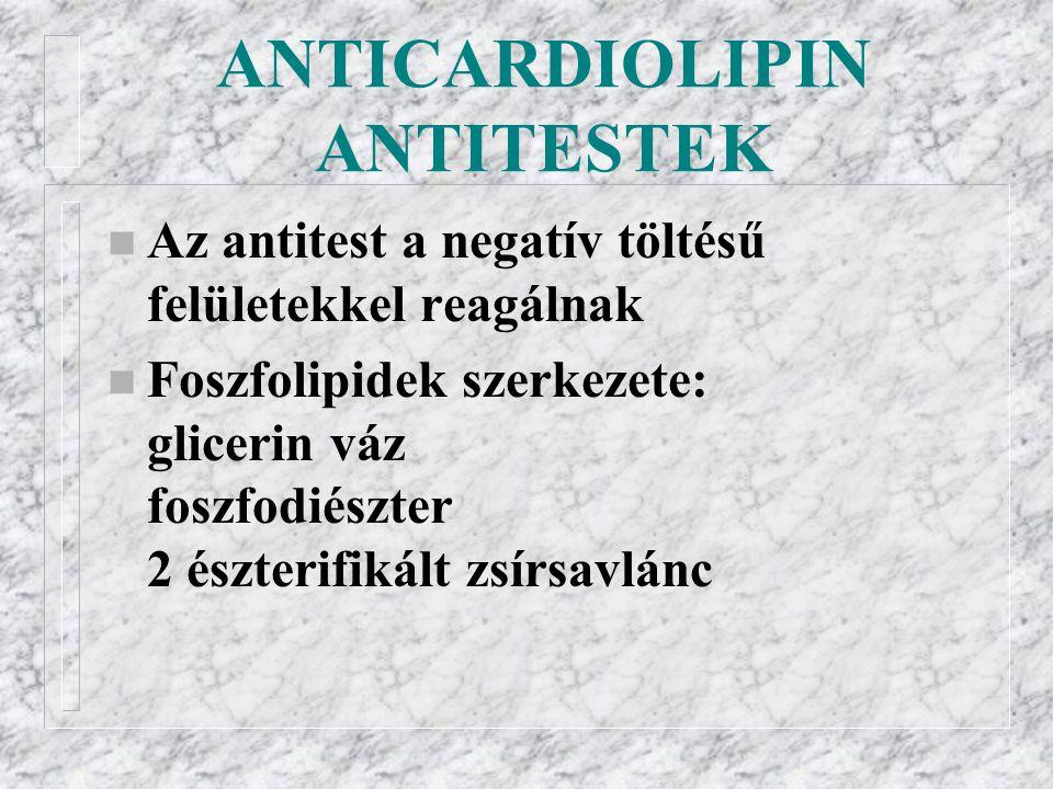 ANTICARDIOLIPIN ANTITESTEK n Az antitest a negatív töltésű felületekkel reagálnak n Foszfolipidek szerkezete: glicerin váz foszfodiészter 2 észterifikált zsírsavlánc