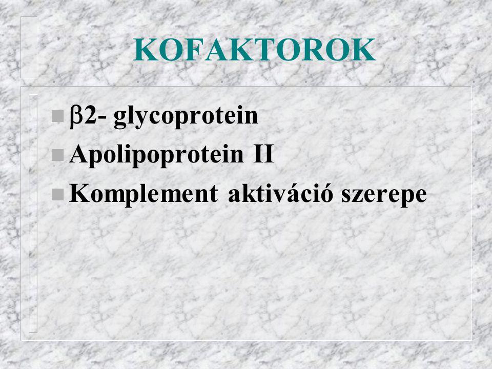 KOFAKTOROK n  2- glycoprotein n Apolipoprotein II n Komplement aktiváció szerepe