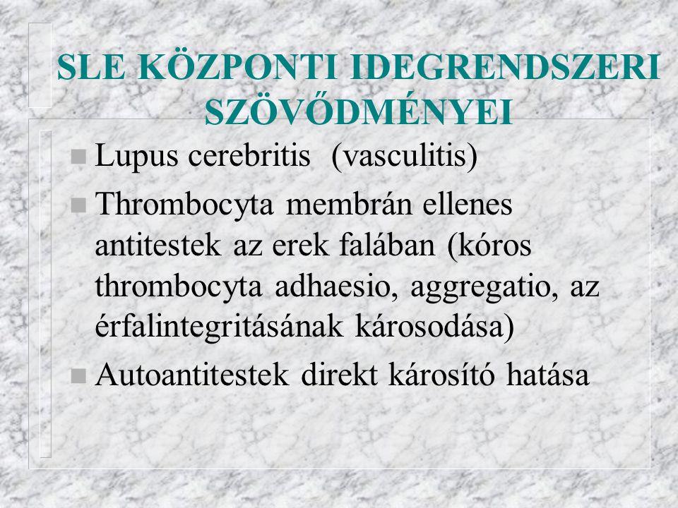 SLE KÖZPONTI IDEGRENDSZERI SZÖVŐDMÉNYEI n Lupus cerebritis (vasculitis) n Thrombocyta membrán ellenes antitestek az erek falában (kóros thrombocyta adhaesio, aggregatio, az érfalintegritásának károsodása) n Autoantitestek direkt károsító hatása