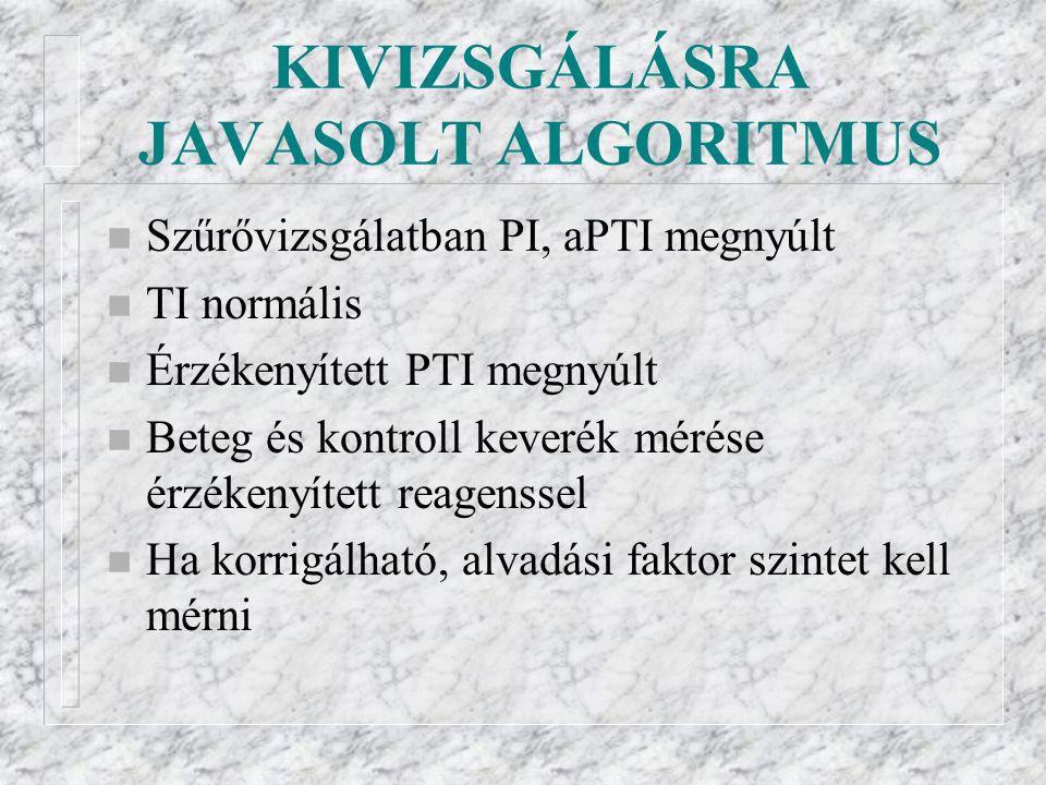 KIVIZSGÁLÁSRA JAVASOLT ALGORITMUS n Szűrővizsgálatban PI, aPTI megnyúlt n TI normális n Érzékenyített PTI megnyúlt n Beteg és kontroll keverék mérése érzékenyített reagenssel n Ha korrigálható, alvadási faktor szintet kell mérni